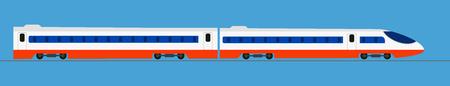 Passenger express train. Railway carriage ,Vector Illustration Stock Vector - 89686066