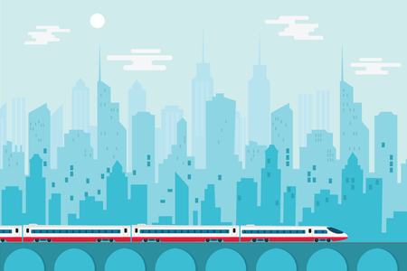 都市都市と高速列車、ベクトルイラストテンプレートデザイン 写真素材 - 89686088