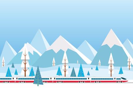 vector illustratie van hogesnelheidstrein rijden op de achtergrond van besneeuwde bergen, Kerstmis winter platte landschap achtergrond
