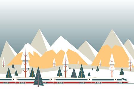 Illustration vectorielle de train à grande vitesse sur fond de montagnes enneigées, fond de paysage plat de Noël hiver Banque d'images - 90112752