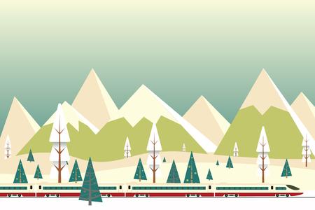 vectorillustratie van hogesnelheidstrein rijden op achtergrond van besneeuwde bergen, Kerstmis winter platte landschap achtergrond