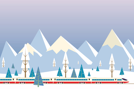 vector illustration of high speed train driving on background of snowy mountains,Christmas winter flat landscape background Illustration