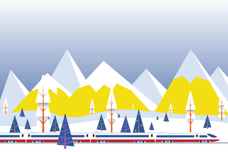 vector illustration of high speed train driving on background of snowy mountains,Christmas winter flat landscape background Illusztráció