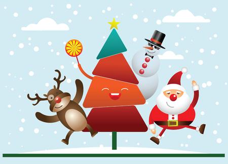 Merry Christmas! Happy Christmas companions. Santa Claus, Snowman, Reindeer and tree in Christmas snow scene.
