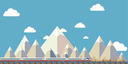 평면 디자인 프리 벡터, 산 하늘과 나무입니다. 벡터 일러스트 레이 션 일러스트