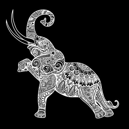 Gestileerde fantasie gevormde olifant. Hand getrokken vectorillustratie met traditionele oosterse bloemenelementen.