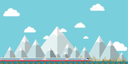 フラットデザイン風景ベクトル、山の空と木.ベクトルイラスト  イラスト・ベクター素材
