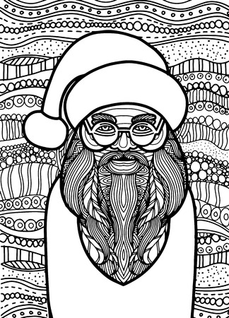 Drawing Santa claus style for coloring book, tattoo, shirt design, logo, sign. stylized illustration of horse unicorn in tangle doodle style. Çizim