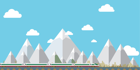 Flat Design Landscape Vector ,mountain sky and tree . Vector illustration Иллюстрация