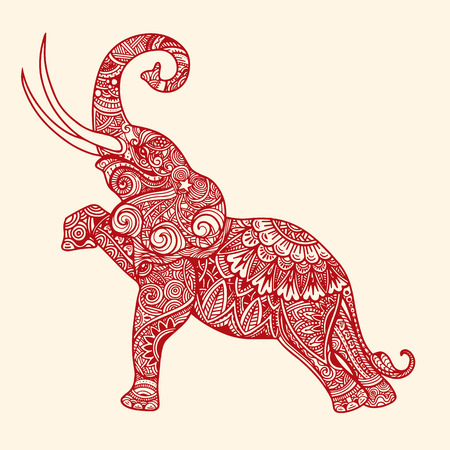 Gestileerde fantasie gevormde olifant. Hand getrokken vectorillustratie met traditionele oosterse bloemenelementen. Stock Illustratie