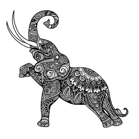 様式化されたファンタジー柄の象。手には、伝統的な東洋の花の要素を持つベクトル図が描かれました。