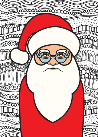 Drawing Santa Claus zentangle style for coloring book, tattoo, shirt design, logo, sign. Çizim