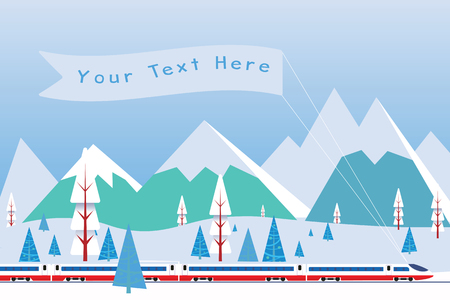 Hi speed train with  banner driving on background of snowy mountains. Background for your text or advertisement. Vector illustration.  Ilustração