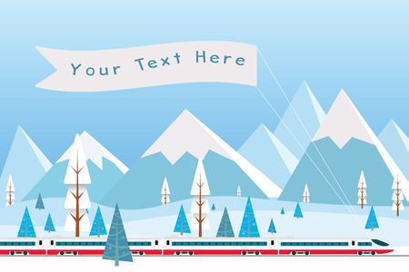 Hi speed train with  banner driving on background of snowy mountains. Background for your text or advertisement. Vector illustration.