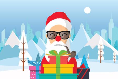 장난감의 선물을 가진 만화 산타 클로스 겨울 자연 풍경입니다. 하얀 나무, 큰 도시, 태양 겨울 도시. 산, 마천루. 벡터 일러스트 레이 션 일러스트