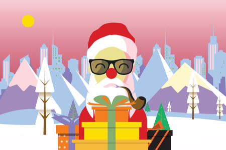 Cartoon Santa claus with a gift of toys in front Winter nature landscape. Winter city with white trees, big city, sun. Mountains, skyscraper. Vector illustration