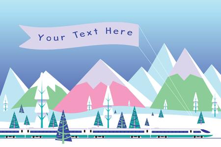 Salut train avec bannière sur fond de vecteur de montagnes enneigées Banque d'images - 90148552