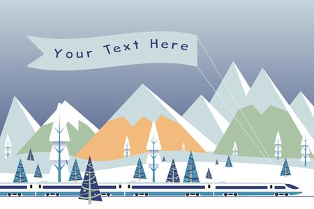 Hallo-snelheidstrein met banner het drijven op achtergrond van sneeuwbergenvector Stock Illustratie