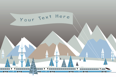 Hi speed train with  banner driving on background of snowy mountains. Background for your text or advertisement. Vector illustration.  Illustration