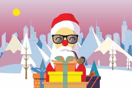 Cartoon Santa Claus with gifts in front Winter nature landscape vector