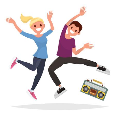 音楽と運動のカップルのベクター イラストです。男性と女性の文字。フラット スタイル