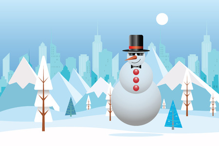 Cool Snowman with Winter nature landscape. Winter city with white trees, big city, sun. Mountains, skyscraper. Vector illustration