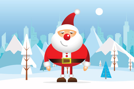 Santa Claus Cartoon Character with Winter nature landscape. Winter city with white trees, big city, sun. Mountains, skyscraper. Vector illustration