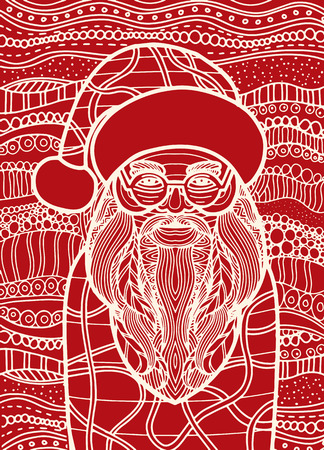 Drawing Santa claus style for coloring book, tattoo, shirt design, logo, sign. stylized illustration of horse unicorn in tangle doodle style. Illustration