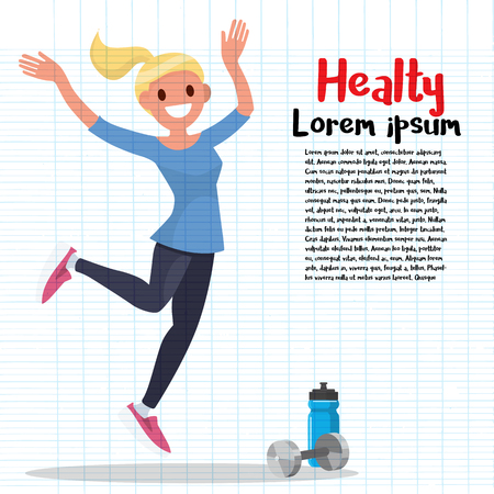 Beautiful sportive woman exercising with dumbbell. Vector illustration isolated on background. Illustration