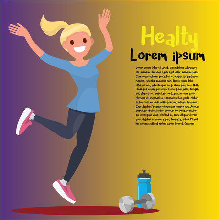 Beautiful sportive woman exercising with dumbbell. Vector illustration isolated on background. Ilustracja