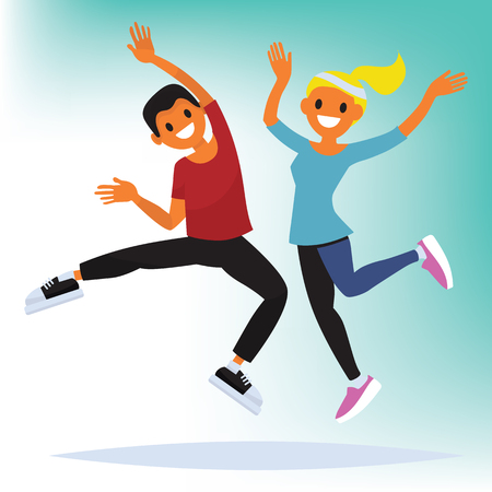 Vector illustration of athletic couple with music. Male and female character. Flat style