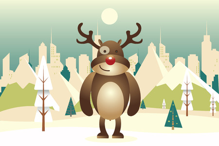 Cool Raindeer Cartoon Character with Winter nature landscape. Winter city with white trees, big city, sun. Mountains, skyscraper. Vector illustration