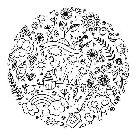 손 그리기 귀여운 낙서 생태 개념, 아이콘 및 기호, 평면 디자인에서 만든 디자인 요소 라운드 라운드 벡터 일러스트 레이 션. 낙서 스타일 일러스트