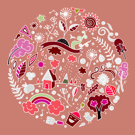 Hand drawing cute doodle ecology concept, round design element made from icons and signs, Flat Design Vector illustration. doodle style Illustration