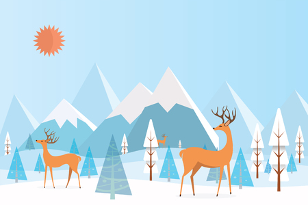 Winter Mountain landscape with reindeer. Vector Illustration