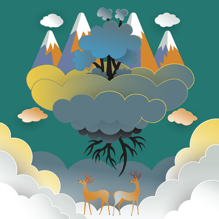 Deer and the beautiful forest on the clouds. Floating in the sky, save the world concept ,Paper art style vector illustration.