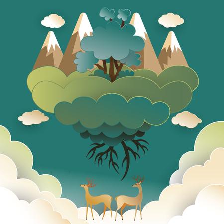 鹿と雲に乗って美しい森。空に浮かぶ、世界概念を保存します。紙アート スタイルのベクトル図です。
