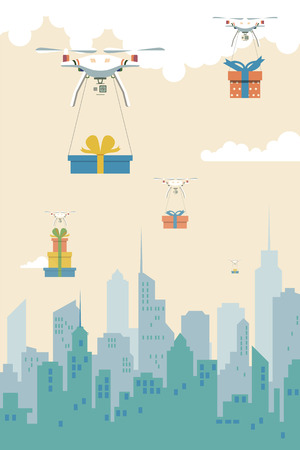 Delivery robots with the gift boxes flying over city vector illustration. Illustration