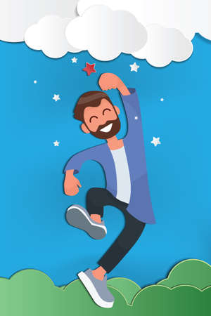 man reaching to the star, metaphor to reaching to goal or be successful. start up Business concept a ladder corporate of success.  Paper art style vector illustration.