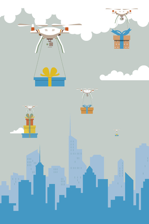 Delivery robot with the gift boxes,flying over city vector illustration.