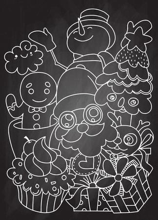 Fröhliche Weihnachten! Frohe Weihnachten Begleiter. Santa Claus, Schneemann, Ren und Ingwer, Hand gezeichnet, Vektorillustration. Standard-Bild - 90966786