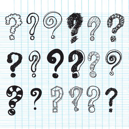 Set of hand drawn question marks. Vector illustration. Illustration