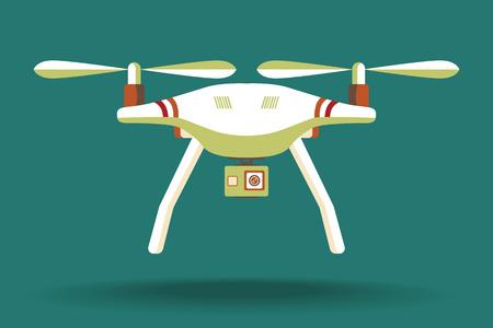 Drone pictogram. Copter of quadcopter met modern cameraontwerp. Vector illustratie. Plat ontwerp. Quadcopter met camera. Vectorkunst op geïsoleerde achtergrond. Plat ontwerp.