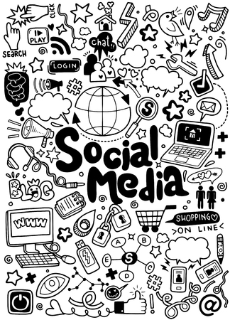 Objects and symbols on the social Media element.