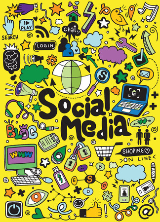 Objects and symbols on the Social Media element. Vector illustration Ilustrace