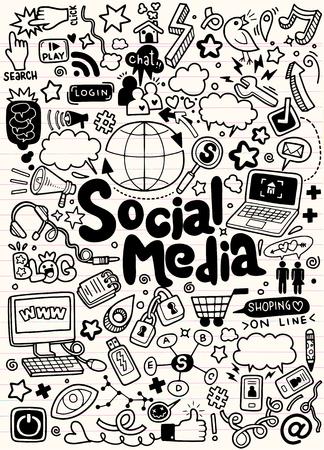Objets et symboles sur l'élément de média social. Illustration vectorielle