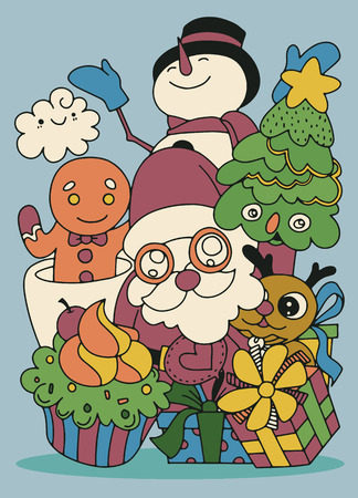 Merry Christmas! Happy Christmas companions. Santa Claus, Snowman, Reindeer and GInger ,Hand Drawn ,vector illustration Çizim