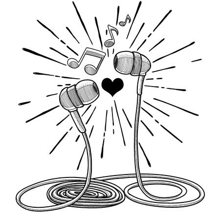 Los auriculares garabatean el ejemplo del vector del estilo del bosquejo con las notas musicales, dibujo de la mano. Foto de archivo - 90966795