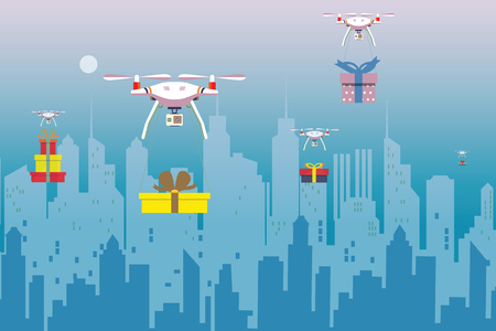 Delivery drone with the gift box ,flying with cityscape background . Modern transportation concept. vector illustration.