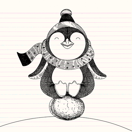 Hand drawn vector illustration Cute penguin sitting on egg , doodle sketch style vector illustration , hand drawing.